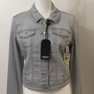 KENSIE DENIM JACKET LIGHT GRAY NEW MEDIUM ASHMONT